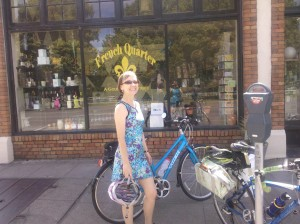Women with bike wearing a Ruu-Muu exercise dress for biking, walking, and generally looking cute while you exercise
