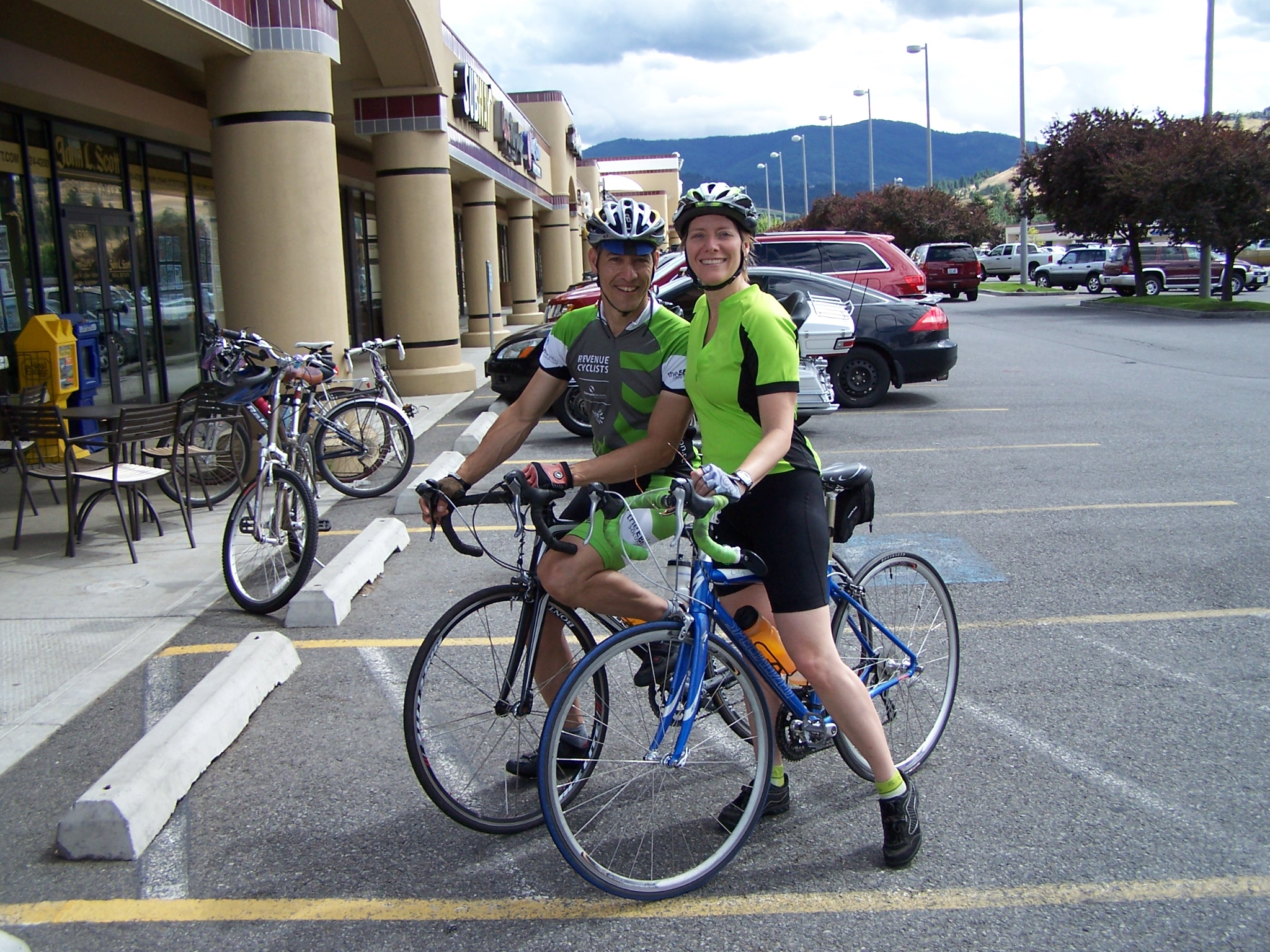 Eric Abbott and Barb Chamberlain on a bike ride.