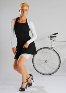 Sheila Moon black dress, white bolero, white lace-trimmed bike shorts. Cute and stylish bike clothes for women ARE out there.