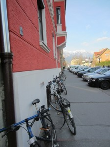 Bikes leaning against buildings in Austria, March 2012